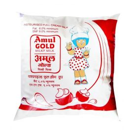 Amul Gold Homogenised Standardised Milk, 500 ml Pouch