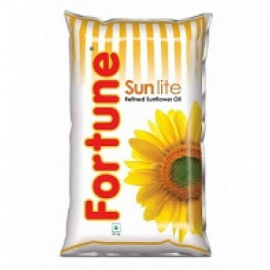 Fortune Sunflower Refined Oil, 1 Litre Pouch