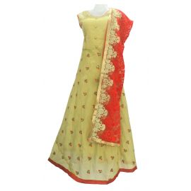 Embellished Poly Silk Semi Stitched  Gown  (Gold)