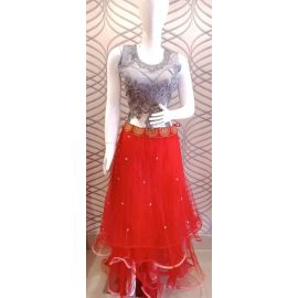 Red party Gown High Neck Long Evening Dress